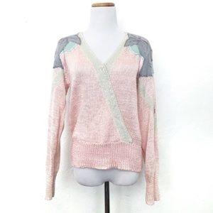 Ginenne 80's Vintage Boho Pastel Pink Knit Sweater